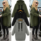Women Long Sleeve Hoodie Casual Sweatshirt Zipper Hooded Coat Loose Pullover Top
