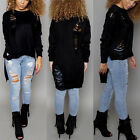 Women's Irregular Sweater Loose Pullover Ripped Holes Casual Knitted Top Jumper