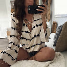 Sexy  Women Ladies Long Sleeve Loose Blouse Summer V Neck Casual Shirt Tops TY
