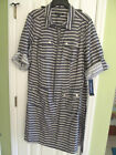 NEW $128 Sharagano Stripe Fall Zip Front Belted Shirt Dress SIZES 22W 22 24W 24
