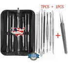 8Pcs Blackhead Pimple Blemish Acne Extractor Remover Tool Kit Curved Tweezers