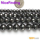 """Natural Round Black Faceted Hematite Stone Beads For Jewelry Making Beads 15"""""""