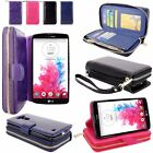For LG G Vista VS880 PU Leather Flip Wallet Zipper Case Card Slots Stand Cover