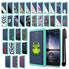 For ZTE Zmax Pro Carry Z981 Hybrid Clear TPU Teal bumper Case Cover + Pen