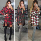 Womens Loose Long Sleeve Plaid Shirt Top Party Dress Romper Jumper Blouse TY