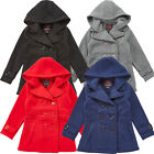 Girls Holiday Pea Coat, Dress Coat, Red, Navy Blue,Gray, Black, Size: 6,8,10,12