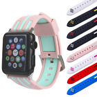 8 Colors Sports Replacement TPU Strap Wrist Band+Connector For Apple Watch 1 2 3
