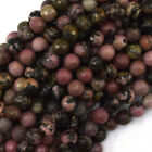 "Faceted Black Pink Rhodonite Round Beads Gemstone 15.5"" 3mm 4mm 6mm 8mm 10mm"