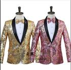 Men's Gold Pink Sequins Bling Suit Blazer Bar Coat Slim Fit Jacket Dress Chic