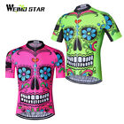 Skull Cycling Jersey Men bike jersey Short Sleeve mtb jersey Cycling Clothing