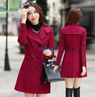 Women Double Breasted Slim Fit Wool Blend Jacket Coats Woolen Outwear Overcoat