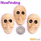 Flat Human Skull Carved Bone Beads For Jewelry Making Halloween Decoration Beads