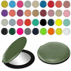 Leather Double Side Small Makeup Mirror Hand Pocket Travel Cosmetic Round