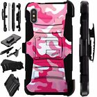For Apple iPhone X/8 Plus/8/7/7 Plus Phone Cover Case PINK WHITE CAMO LuxGuard