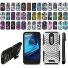 For Motorola Droid Turbo 2 Kinzie XT1585 Design Hybrid Stand Case Cover + Pen