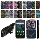"For Motorola Moto G5 Plus 5.2"" Design Hybrid Rugged Kickstand Case Cover + Pen"