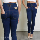 Women's Dark Blue Denim Slim Fit Jeans Trousers High Waist with Lacing 8 10 12