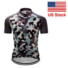 Mens Road Bike Cycling Tops Short Sleeve Jersey Bicycle Racing Shirts Camouflage