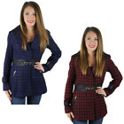 Jessica Simpson Women's Houndscheck Lapel Notched Wool Coat Jacket