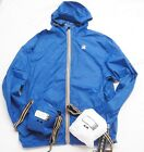 K-Way Mens Classic Hooded Windbreaker Packable Folds Into Pocket White or Blue
