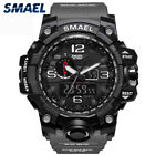 SMAEL Mens' Dual Date Display Luminous Hands Watch Sports Timer Wristwatch Black