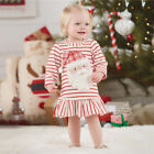 CHRISTMAS PARTY BABY GIRLS LONG SLEEVE CUTE SANTA CLAUS STRIPED PLEATED DRESS AC