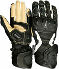 Weise Tornado Black White Leather Sport Armoured Race Motorcycle Gloves RRP £80!