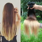 Ladies Brazilian Ombre Virigin Straight Remy Clip in Human Hair Extensions Weft