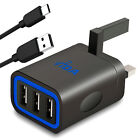 Multi 3 Port USB Wall Charger UK Plug Power Adapter + free USB-C cable Fast 3.1A