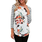 Womens Long Sleeve Casual Loose Shirt Tops Blouse Floral & Stripe T-Shirt Hot