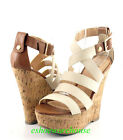 Beige Tan Sexy Cork Wrapped Espadrilles Wedges Strappy Sandals Closed Back