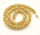 """Round Byzantine Link Chain Necklace 14K Yellow Gold Clad Stainless Steel 18"""" 21"""""""