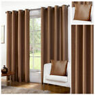 Ready Made Chocolate Luxury Faux Silk Lined Eyelet Ring Top Curtain Pair Living