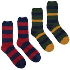 Joules Mens Single Fab Super Soft Fluffy Stripe Socks In Dark Green Or Red
