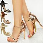 Womens Ladies Frill High Heel Barely There Ruffle Rose Party Sandals Shoes Size