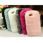 Luxury Winter Warm Fluffy Plush Rabbit Fur Phone Case Cover For iPhone 6 6s Plus
