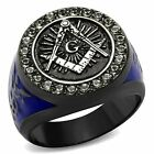 Stainless Steel Black & Blue Ion Plated Crystal Masonic Freemason Ring