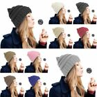 Unisex Winter Chunky Soft Stretch Cable Knit Slouch Beanie Ski Hat Black