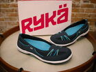 Ryka Tango Navy Blue Leather Bungee Slip on Skimmer Flats NEW
