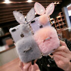 Cute Rabbit Fur Furry Ears Plush Bling + Ring Stand Soft Phone Clear Case Cover