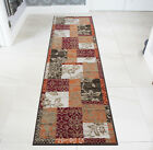 Warm Red Orange Modern Patchwork Runner Rugs Soft Narrow Long Rugs For Hallways