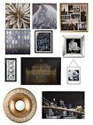 Mono & Gold Floral New York Wall Art Pictures Canvas Home Decor Accessories