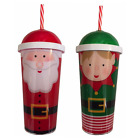Christmas Plastic Drinks Cup Tumbler Lid & Straw SANTA or ELF Secret Santa Gift