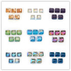 Cube Square DIY Jewelry Makings Loose Glass Beads Charms Findings 14mm Colorized