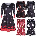 HOT Womens Christmas Santa Skater Ladies Snowman Swing Dress Plus Size 6-22