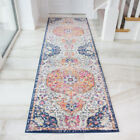 Distressed Red Blue Traditional Hall Runner Vintage Long Narrow Thin Hallway Rug