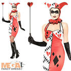 Carnival Jester Ladies Fancy Dress Halloween Harlequin Circus Adults Costume New