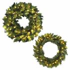 New Luxury Pre-Lit Artificial Pine Wreath Christmas Decoration Warm White LEDs