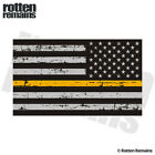 Tattered Thin Gold Line American Subdued Flag Decal Gloss Sticker (LH) HGV