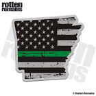 Arkansas State Thin Green Line Decal AR Tattered American Flag Gloss Sticker HGV